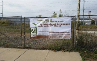 2nd Street Park Banner on fence 2