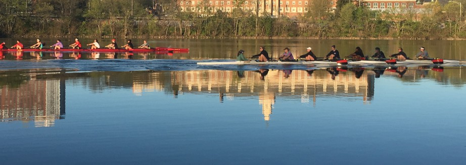 rutgers women's rowing team on the Raritan River by Rutgers Athletics - cropped long