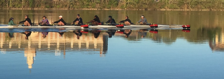 rutgers women's rowing team on the Raritan River by Rutgers Athletics - long crop right